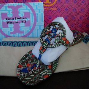 NIB Tory Burch Orange Something Wild Millers 7.5/8